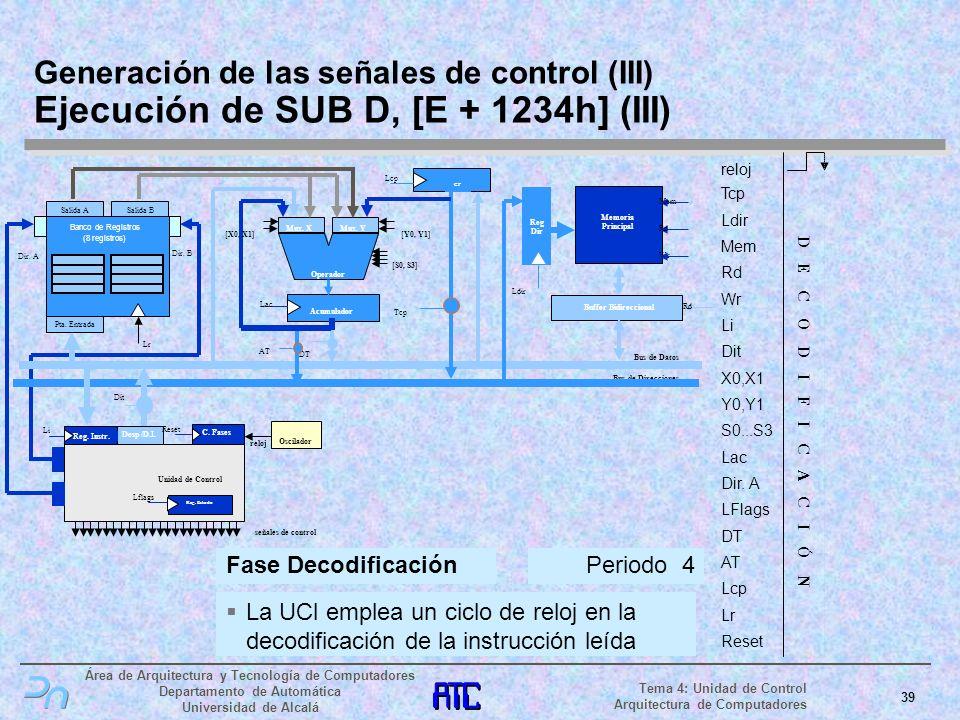 Generación de las señales de control (III) Ejecución de SUB D, [E + 1234h] (III)